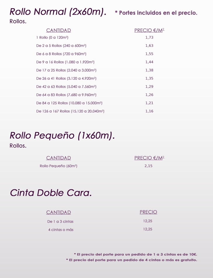 Tarifa Precios Moquetas Feriales - Andaluza de Moquetas
